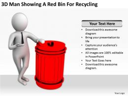 3D Man Showing A Red Bin For Recycling Ppt Graphics Icons Powerpoint