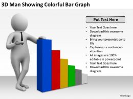 3D Man Showing Colorful Bar Graph Ppt Graphics Icons Powerpoint
