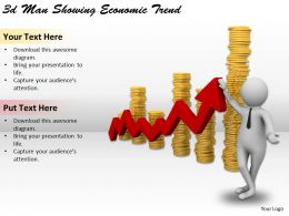 3d Man Showing Economic Trend Ppt Graphics Icons Powerpoint