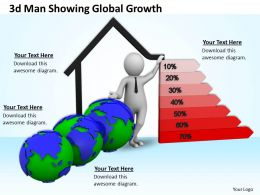3d Man Showing Global Growth Ppt Graphics Icons Powerpoint