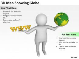 3d Man Showing Globe Ppt Graphics Icons Powerpoint