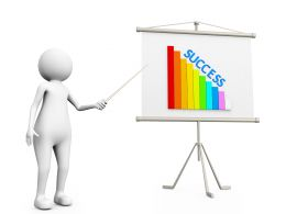 3D Man Showing Graph Bar With Success On Flip Chart Stock Photo