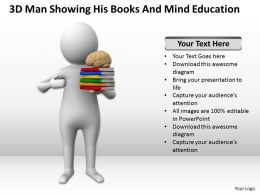 3D Man Showing His Books And Mind Education Ppt Graphics Icons Powerpoint