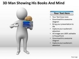 3D Man Showing His Books And Mind Ppt Graphics Icons Powerpoint