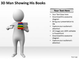 3D Man Showing His Books Ppt Graphics Icons
