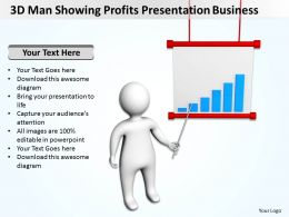3D Man Showing Profits Presentation Business Ppt Graphic Icon