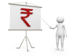 3D Man Showing Rupee Symbol For Finance Stock Photo