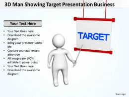 3D Man Showing Target Presentation Business Ppt Graphic Icon