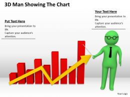 3D Man Showing The Chart Ppt Graphics Icons Powerpoint