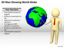 3D Man Showing World Globe Ppt Graphics Icons Powerpoint