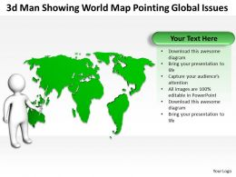 3d Man Showing World Map pointing Global issues Ppt Graphic Icon