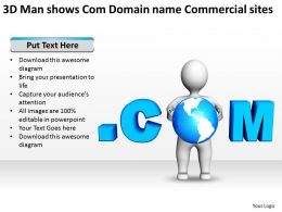 3D Man shows Com Domain name Commercial sites Ppt Graphics Icons