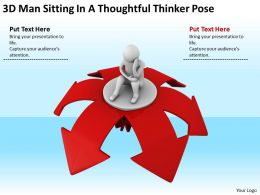 3D Man Sitting In A Thoughtful Thinker Pose Ppt Graphics Icons Powerpoint