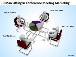 3D Man Sitting In Conference Meeting Marketing Ppt Graphic Icon