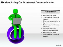 3D Man Sitting On At Internet Communication Ppt Graphic Icon