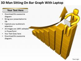 3D Man Sitting On Bar Graph With Laptop Ppt Graphics Icons Powerpoint