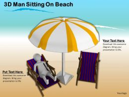 3d Man Sitting On Beach Ppt Graphics Icons Powerpoint