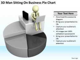 3D Man Sitting On Business Pie Chart Ppt Graphics Icons Powerpoint