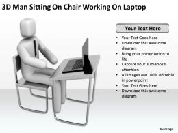 3D Man Sitting On Chair Working On Laptop Ppt Graphic Icon