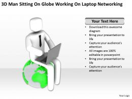 3D Man Sitting On Globe Working On Laptop Networking Ppt Graphics Icons Powerpoin