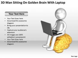 3D Man Sitting On Golden Brain With Laptop Ppt Graphics Icons