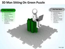 3D Man Sitting On Green Puzzle Ppt Graphics Icons