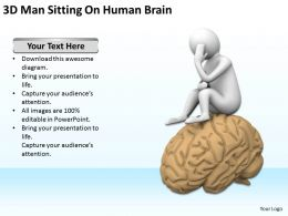 3D Man Sitting On Human Brain Ppt Graphics Icons Powerpoint