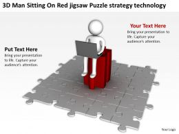 3D Man Sitting On Red jigsaw Puzzle strategy technology Ppt Graphics Icons