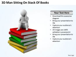 3D Man Sitting On Stack Of Books Ppt Graphics Icons Powerpoint