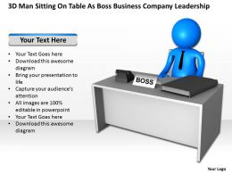 3D Man sitting on table as Boss Business Company Leadership Ppt Graphic Icon