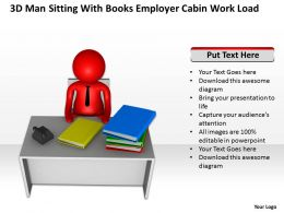3D Man sitting with books Employer cabin work load Ppt Graphic Icon