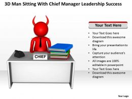 3D Man sitting With Chief manager Leadership Success Ppt Graphic Icon