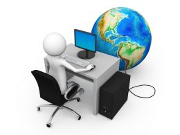 3D Man Sitting With Laptop And Globe Infront Business Stock Photo