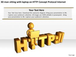 3D man sitting with laptop on HTTP Concept Protocol Internet Ppt Graphic Icon