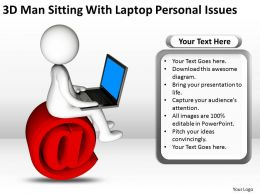 3D man sitting with laptop personal issues Ppt Graphics Icons
