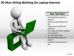 3D Man Sitting Working On Laptop Internet Ppt Graphics Icons Powerpoint