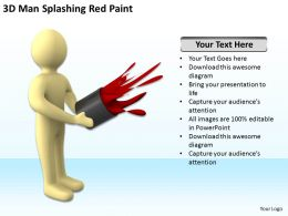 3D Man Splashing Red Paint Ppt Graphics Icons PowerPoint