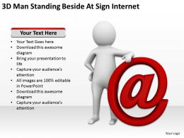 3D Man Standing Beside At Sign Internet Ppt Graphics Icons Powerpoint