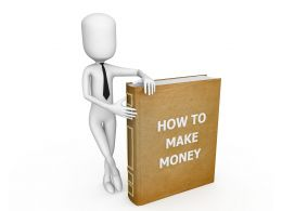 3D Man Standing Beside Book With Title How To Make Money Stock Photo