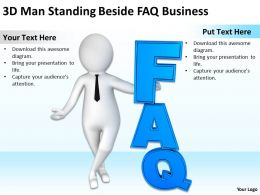 3D Man Standing Beside FAQ Business Ppt Graphics Icons Powerpoint