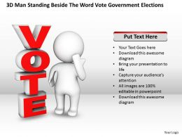 3D Man Standing Beside The Word Vote Government Elections Ppt Graphic Icon