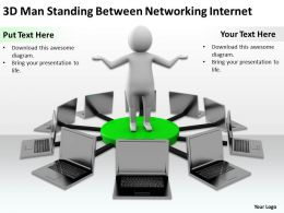 3D Man Standing Between Networking Internet Ppt Graphics Icons Powerpoint