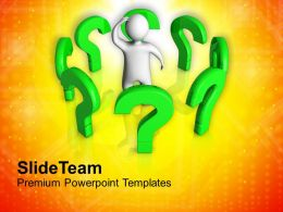 3d Man Standing Between Question Marks Powerpoint Templates Ppt Themes And Graphics 0213