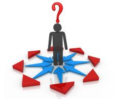 3d Man Standing Between Red Blue Arrows With Question Mark Stock Photo