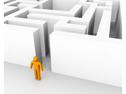 3D Man Standing In Front Of Maze For Problem Solving Stock Photo