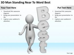3D Man Standing Near To Word Best Ppt Graphics Icons Powerpoint