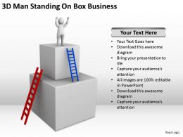 3D Man Standing On Box Business Ppt Graphics Icons Powerpoint