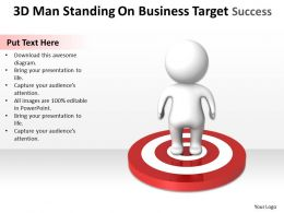 3D Man Standing On Business Target Success Ppt Graphics Icons