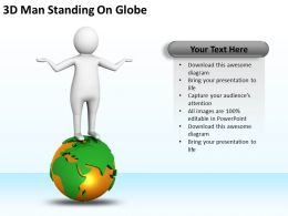 3D Man Standing On Globe Ppt Graphics Icons Powerpoint