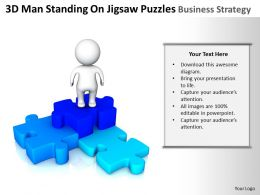 3D Man Standing On Jigsaw Puzzles business Strategy Ppt Graphics Icons